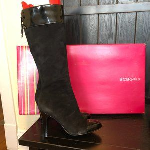 BCBGirls Big-Chill Black Leather Heeled Boots